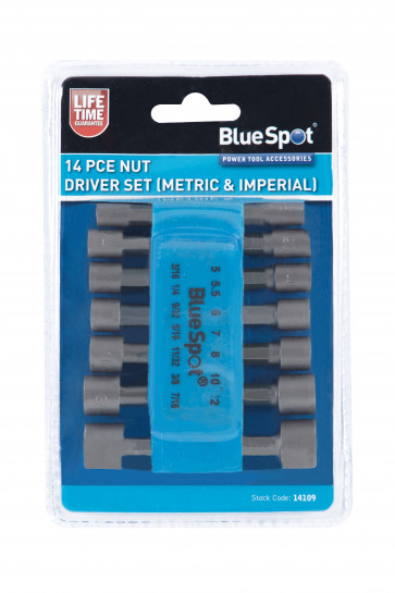 BlueSpot 14 PCE Nut Driver Set (Metric & Imperial)