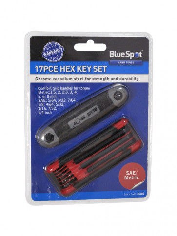 "BlueSpot 17 PCE Metric and Imperial Hex Key Set (1.5-8mm) (5/64""-1/4"")"