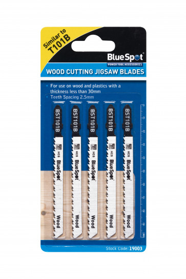 BlueSpot 5 PCE HCS Clean Cut Jigsaw Blades For Wood (10 TPI)