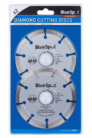 "BlueSpot 2 PCE 115mm (4.5"") Segmented Diamond Dry Cutting Disc"