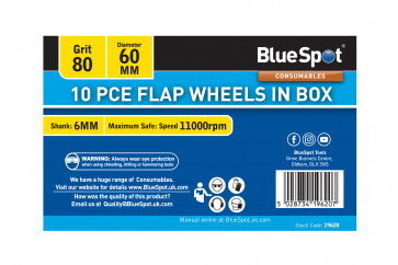 BlueSpot 10 PCE 80 Grit 60MM Flap Wheels In Box