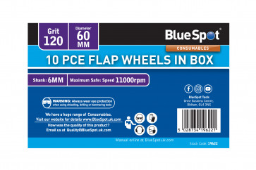 BlueSpot 10 PCE 120 Grit 60MM Flap Wheels In Box