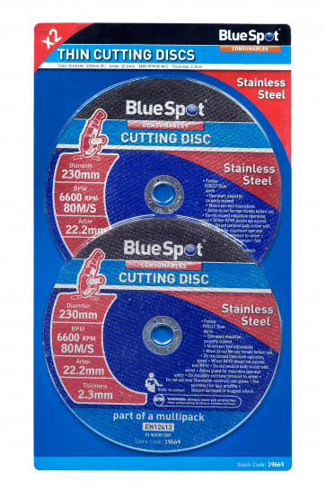 "BlueSpot Twin Pack 230mm (9"") Stainless Steel Cutting Discs"