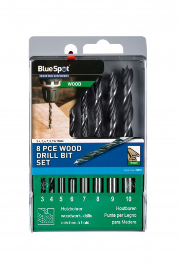 BlueSpot 8 PCE Wood Drill Bit Set (3-10mm)