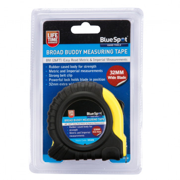 BlueSpot 8m (26ft) Extra-Wide Blade Tape Measure