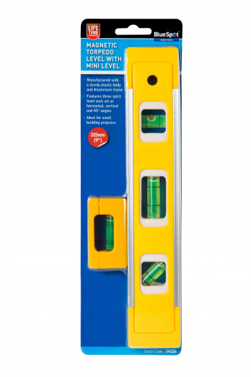 "BlueSpot 225mm (9"") Magnetic Torpedo Level With Mini Level"