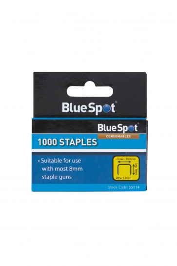 BlueSpot 8mm Crown Flat Wire Staples T50 Style