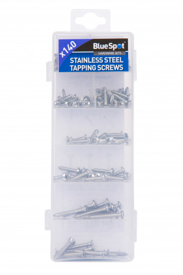 BlueSpot 140 PCE Assorted Stainless Steel Tapping Screw Set