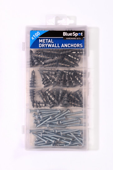 BlueSpot 100 PCE Assorted Metal Drywall Anchor And Screw Set