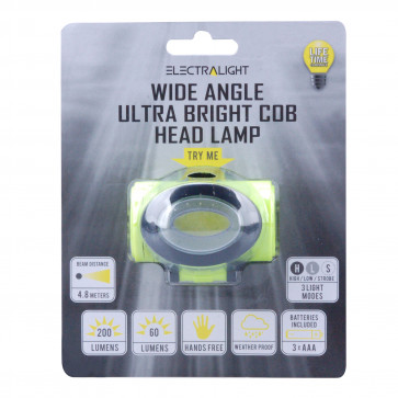 Electralight Wide Angle Ultra Bright COB Head Lamp (200 Lumens)