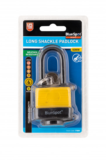 BlueSpot 40mm Long Shackle Weather Resistant Padlock