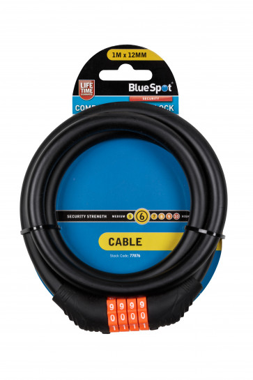 BlueSpot 1m x 12mm Combination Cable Lock