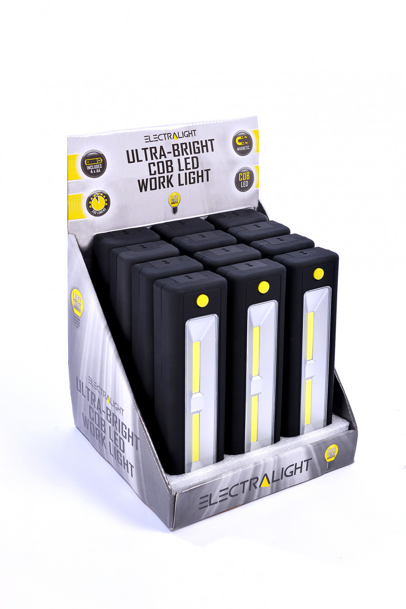 Electralight ultra bright cob work light with batteries for Lit 09 battery
