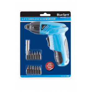 BlueSpot 4.8 V Cordless Screwdriver with 12 PCE bits