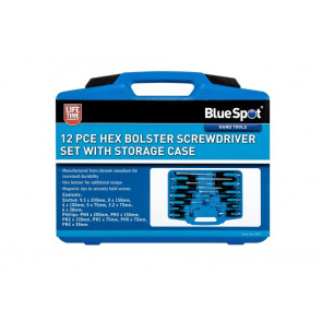 BlueSpot 12 PCE Hex Bolster Screwdriver Set with Storage Case
