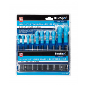 BlueSpot 10 PCE Metric T Handle Ball End Hex Key Set (2-10mm)