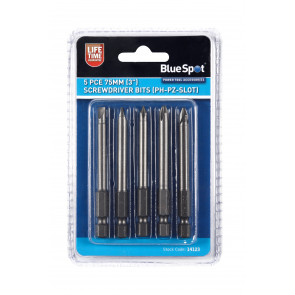 "BlueSpot 5 PCE 75mm (3"") Screwdriver Bits (PH-PZ Slot)"