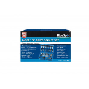 "BlueSpot 26 PCE 1/4"" Metric Socket Set (5-14mm)"