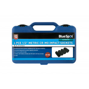 "BlueSpot 4 PCE 1/2"" Metric Cr-Mo Impact Sockets (30-36mm)"