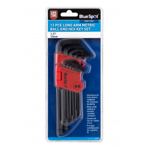 BlueSpot 13 PCE Long Arm Metric Ball End Hex Key Set (1.27-10mm)