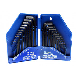 "BlueSpot 30 PCE Hex Key Set (0.7-10mm) (0.028""-3/8"")"