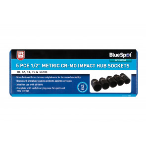 "BlueSpot 5 PCE 1/2"" Metric Cr-Mo Impact Hub Sockets (30-36mm)"