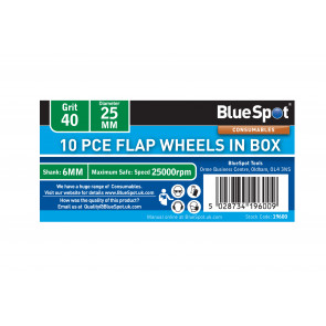 BlueSpot 10 PCE 40 Grit 25MM Flap Wheels In Box