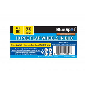 BlueSpot 10 PCE 80 Grit 25MM Flap Wheels In Box