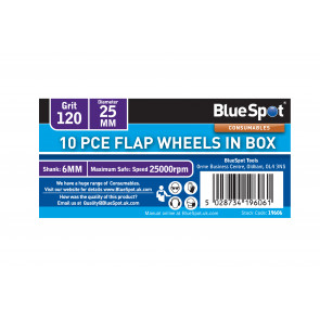 BlueSpot 10 PCE 120 Grit 25MM Flap Wheels In Box