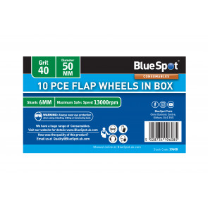 BlueSpot 10 PCE 40 Grit 50MM Flap Wheels In Box
