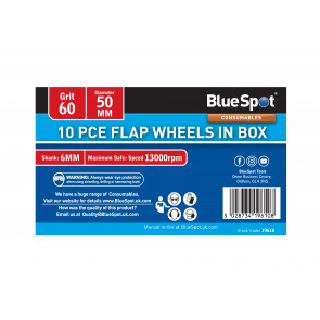 BlueSpot 10 PCE 60 Grit 50MM Flap Wheels In Box