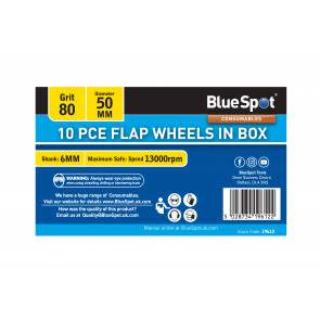 BlueSpot 10 PCE 80 Grit 50MM Flap Wheels In Box