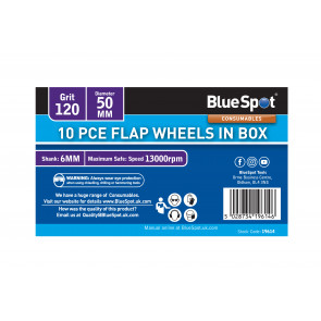 BlueSpot 10 PCE 120 Grit 50MM Flap Wheels In Box