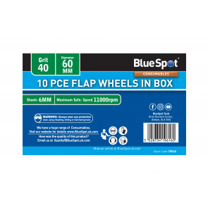 BlueSpot 10 PCE 40 Grit 60MM Flap Wheels In Box
