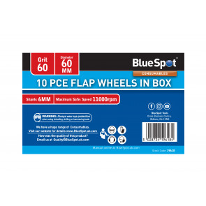 BlueSpot 10 PCE 60 Grit 60MM Flap Wheels In Box