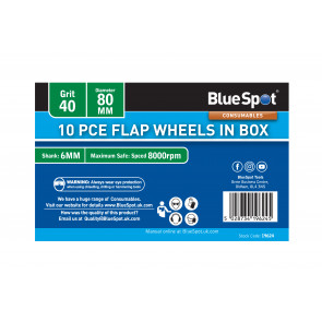 BlueSpot 10 PCE 40 Grit 80MM Flap Wheels In Box