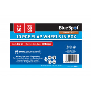 BlueSpot 10 PCE 60 Grit 80MM Flap Wheels In Box