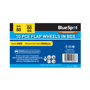 BlueSpot 10 PCE 80 Grit 80MM Flap Wheels In Box