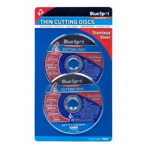 "BlueSpot Twin Pack 115mm (4.5"") Stainless Steel Cutting Discs"