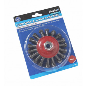 "BlueSpot 115mm (4.5"") M14 Semi-Flat Twist Knot Wire Wheel Brush"