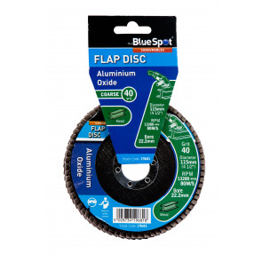 "BlueSpot 115mm (4.5"") 40 Grit Aluminium Oxide Flap Disc (Header Card)"