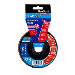 "BlueSpot 115mm (4.5"") 60 Grit Aluminium Oxide Flap Disc (Header Card)"