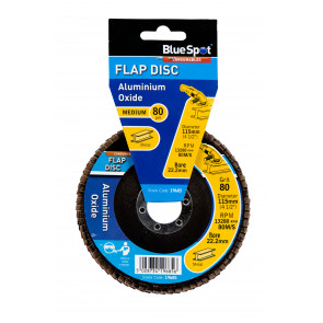 "BlueSpot 115mm (4.5"") 80 Grit Aluminium Oxide Flap Disc (Header Card)"
