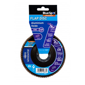 "BlueSpot 115mm (4.5"") 120 Grit Aluminium Oxide Flap Disc (Header Card)"