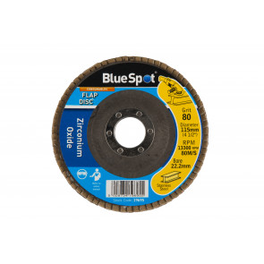 "BlueSpot 115mm (4.5"") 80 Grit Zirconium Oxide Flap Disc"