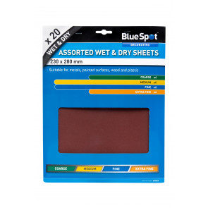 BlueSpot 20 PCE Assorted Wet And Dry Sandpaper Sheets