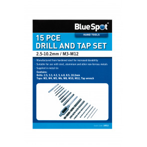 BlueSpot 15 PCE Drill and Tap Set (M3-M12) (2.5-10.2mm)