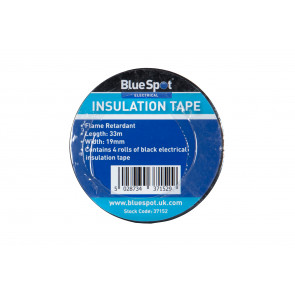 BlueSpot 4 Pack 33m Black Electrical Insulation Tape