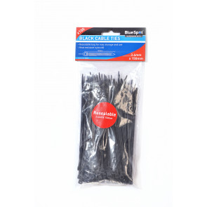 BlueSpot 100 PCE 3.6mm X 150mm Black Cable Ties