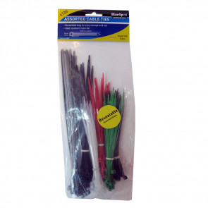 BlueSpot 120 PCE Assorted Mixed Colour Cable Ties